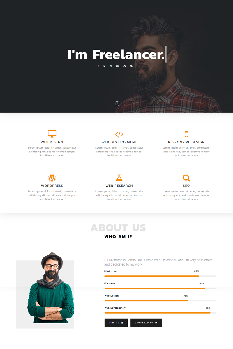 Romio Personal Landing Page Template Landingpage Personal Romio Landing Portfolio Web Design Personal Website Design Portfolio Website Design