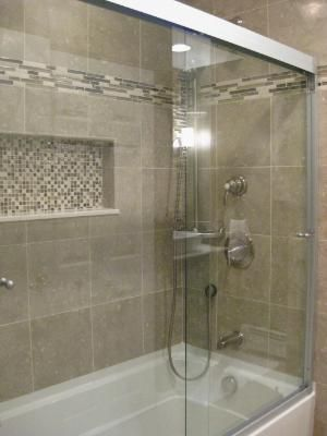 Love This Tub Tile Accents And Doors This Would Work For Your Bathroom Window Would Be Where The Small Bathroom Remodel Brown Bathroom Bathrooms Remodel