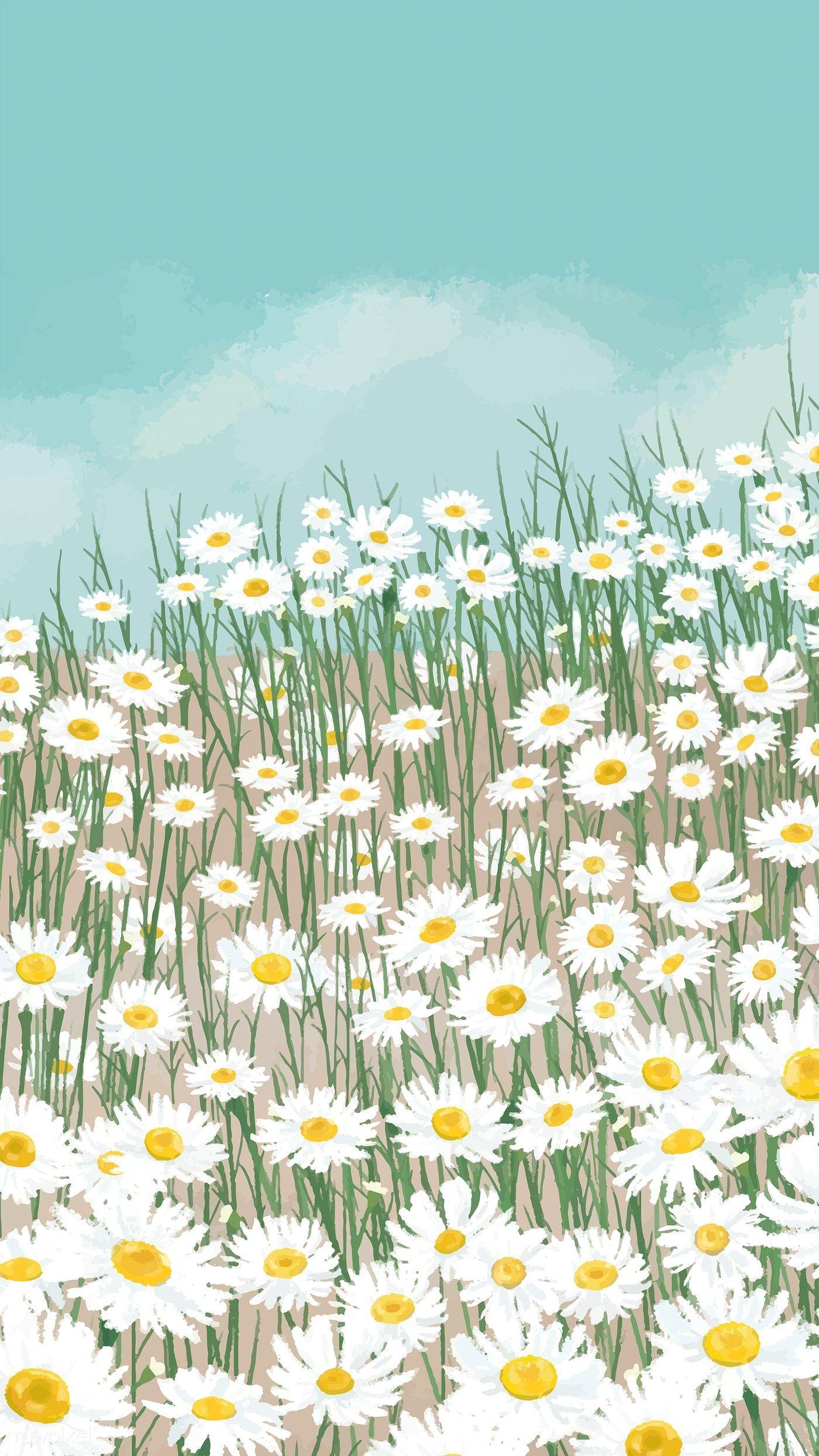 Download Premium-Vektor von Blooming weiße Blume Daisy Handy