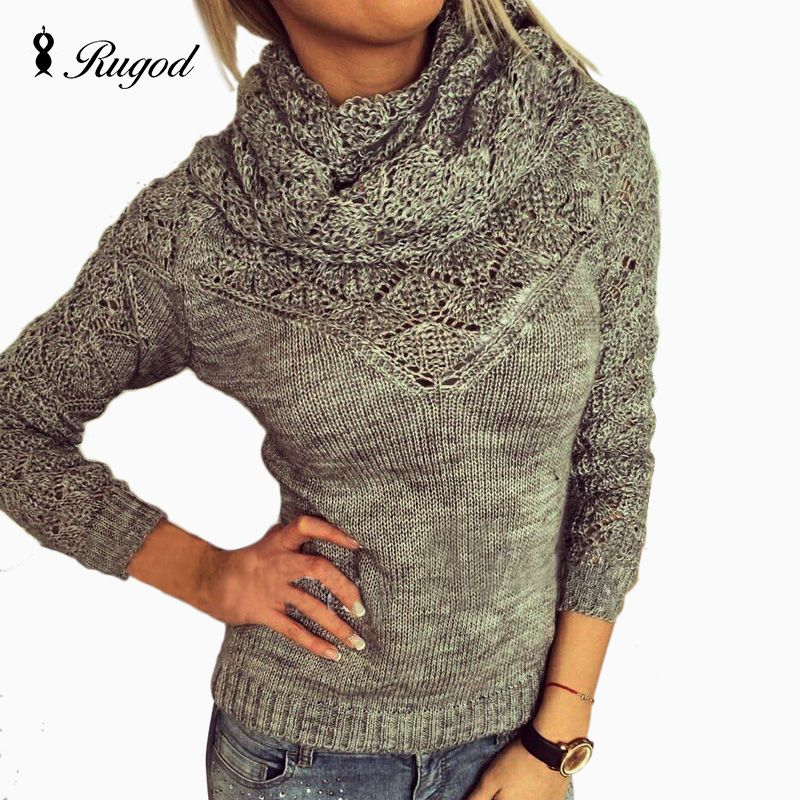 863111790e RUGOD 2018 Classic Autumn Winter Warm Sweaters Women Turtleneck ...