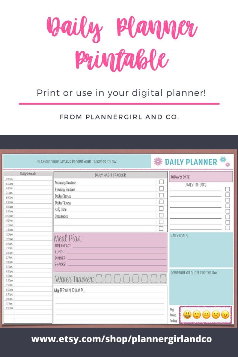 Onenote Planner 2020 Teal And Pink Daily Planner Printable