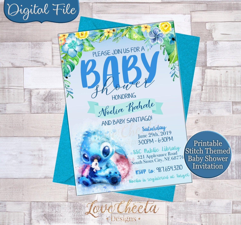 Stitch Baby Shower Invitations Lilo And Stitch Baby Shower Invite Disney Baby Shower Lua Disney Baby Shower Invitaciones Baby Shower Baby Shower Invitations