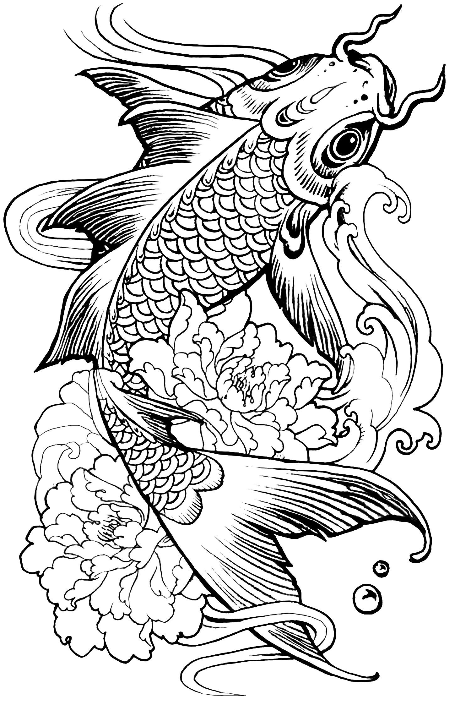 Complex fish carp Coloring page of a beautiful fish