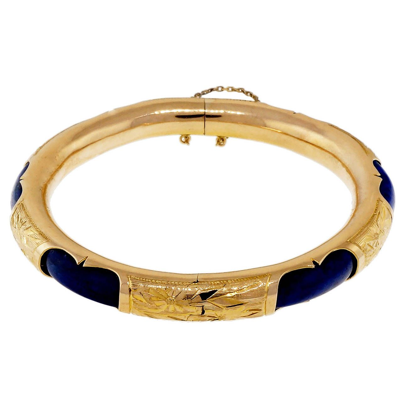 Natural blue lapis gold bangle bracelet gold bangles bangle and