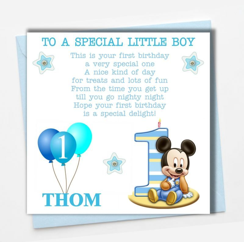 Personalised Mickey Mouse Boy Son Grandson Godson Babies First 1st