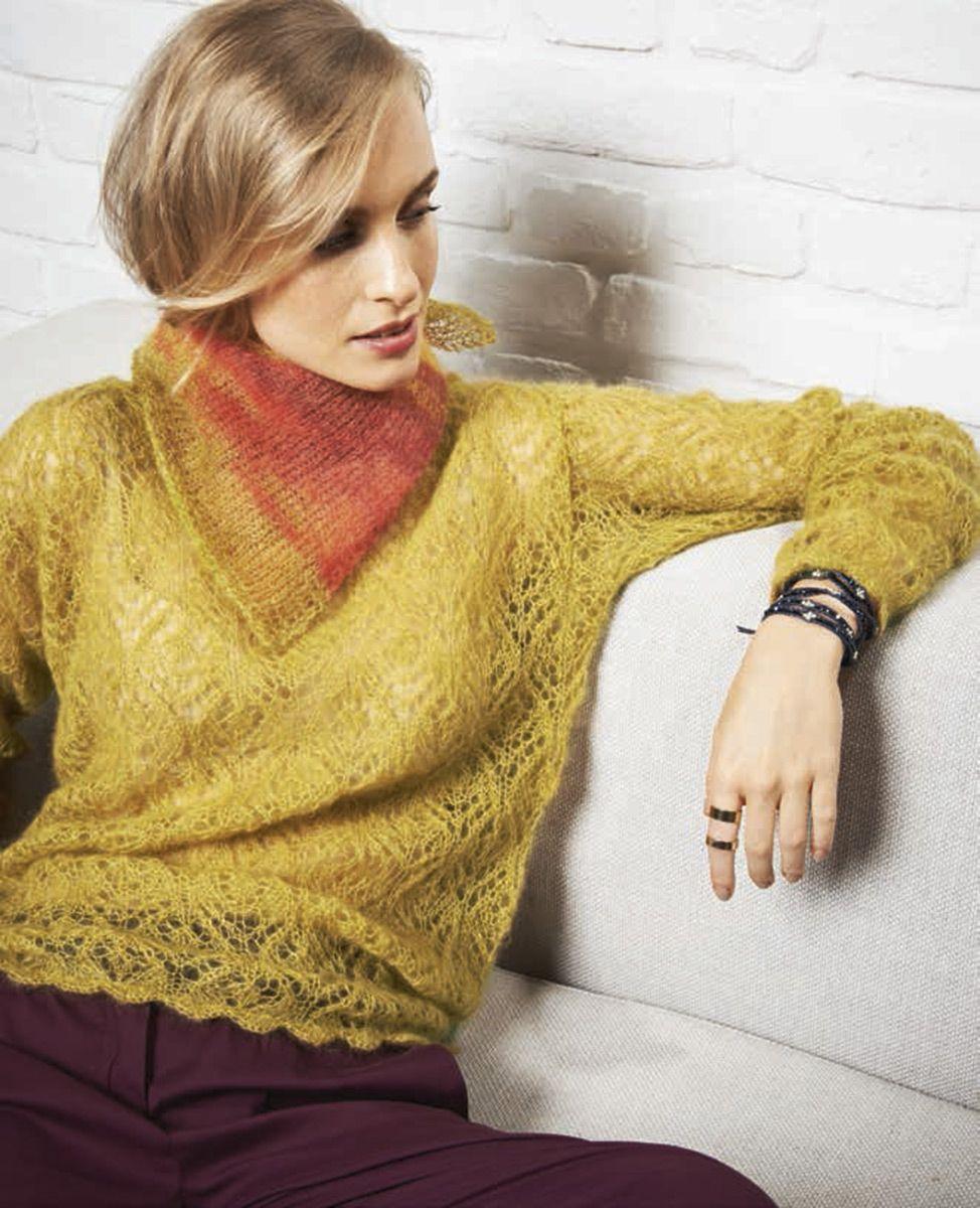 Lana Grossa PULLI MIT HÄKELBOGENRAND Silkhair uni - LACE No. 4 - Modell 22 | FILATI.cc WebShop