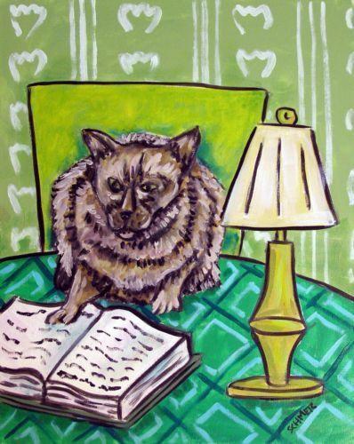 burmese cat art abstract folk pop ART 4x6 LIBRARY green glossy print