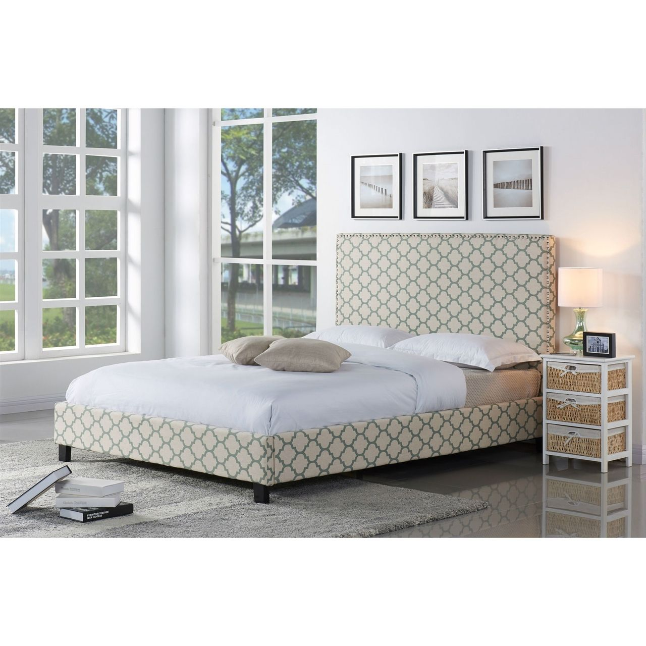 Full size Upholstered Platform Bed and Headboard with Lattice Sea-foam  Trellis - Quality House