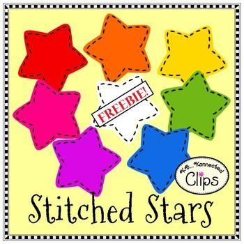 Free clip art: FREE stitched stars clip art. Colors plus black line.