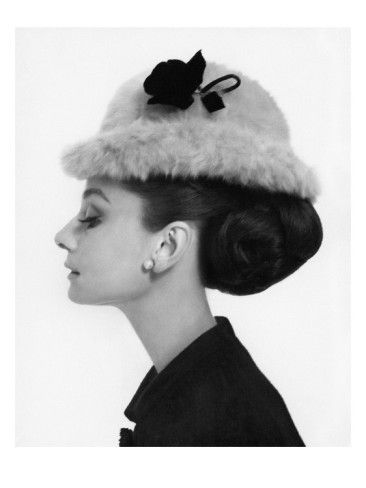 Audrey Hepburn wearing an Edwardian-style bowler of brushed Melusine by Hubert de Givenchy, French, 'Vogue' magazine, August 1964. Photo by Cecil Beaton.
