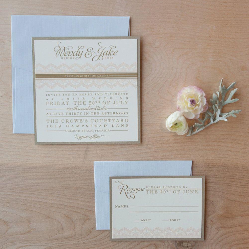 Lace Wedding Invitation Shabby Chic Rustic Vintage Elegance