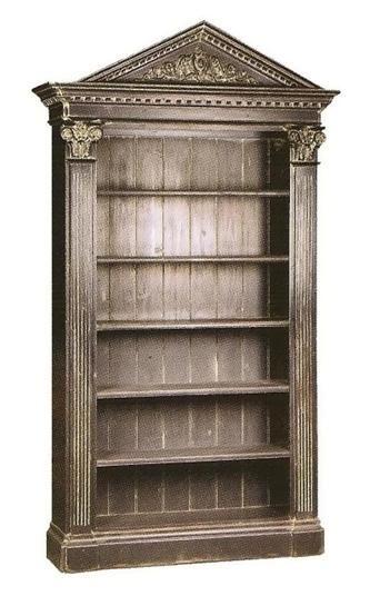 Antique Black Pediment Bookcase