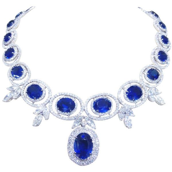 Pre Owned Stunning Sapphire And Diamond Necklace Blue Sapphire Jewelry Blue Diamond Jewelry Beautiful Diamond Necklace