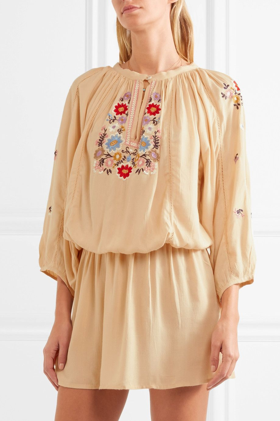 Melissa Odabash Woman Nadja Embroidered Voile Mini Dress Beige Size M Melissa Odabash Free Shipping Reliable b85nQy4