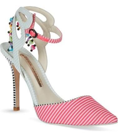 Pretty embellished striped heels.