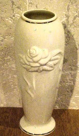 Beautiufl Lenox Cream Colored Vase With A Rose On The Front Lenox