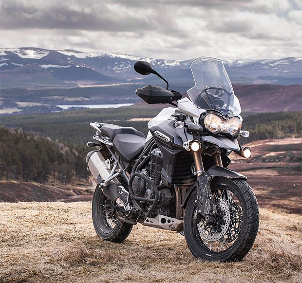 Triumph Tiger Explorer XC ~with the shaft-drive 1215CC Triumph Tiger Explorer XC, you can ride in comfort to the ends of the earth. With ABS braking & cruise control, this bike is built for the long haul, plus it's factory-equipped to peel off the freeway and climb up a mountainside without skipping a beat.