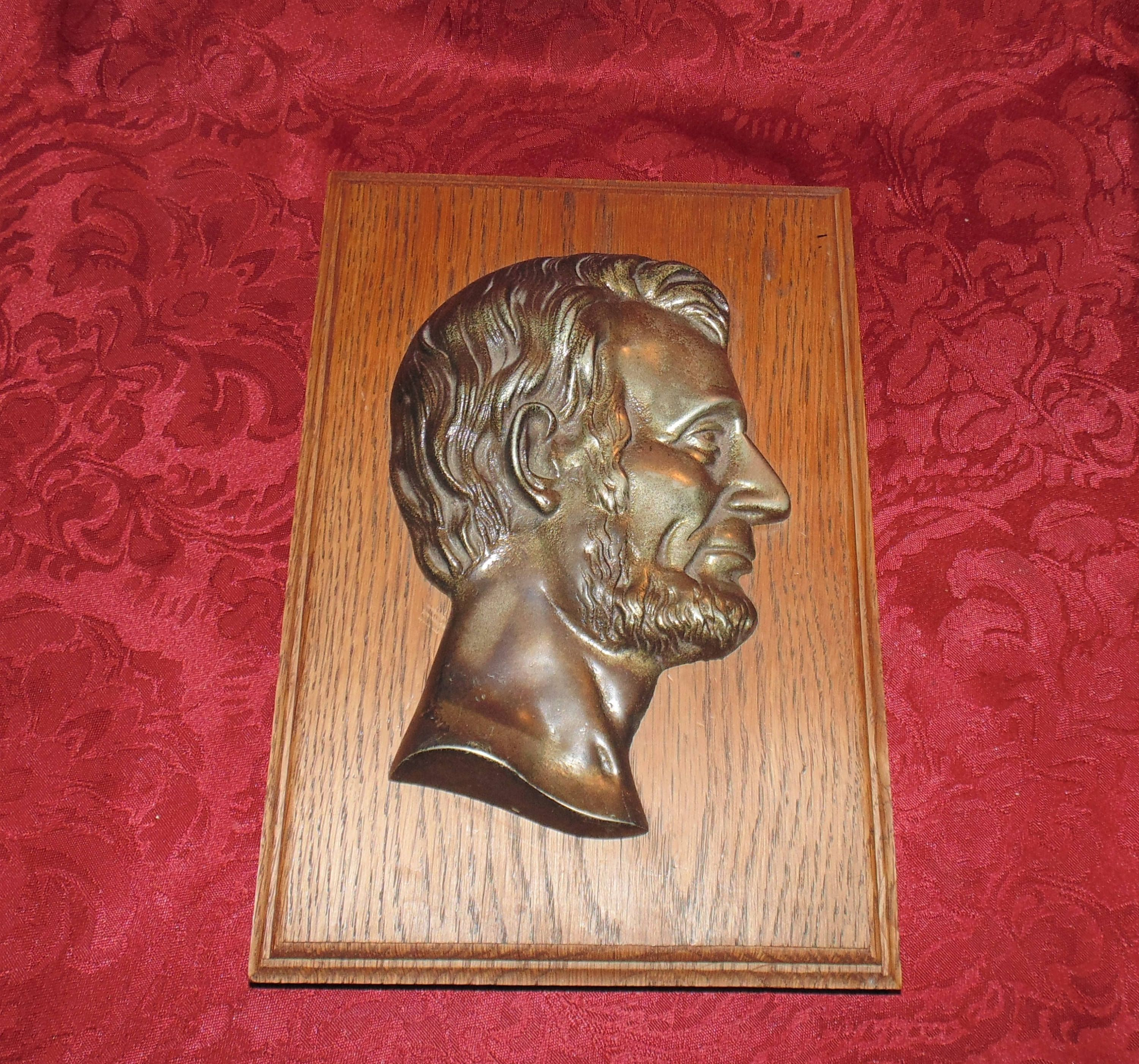 Vintage Abraham Lincoln Metal on Oak Wall Plaque by SimplyMarvelousMary on Etsy
