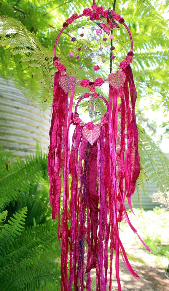 Dream Catcher - Fantasy wall hanging - Pink - Butterfly - Crystal - Roses - Home…