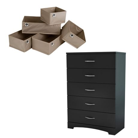 South Shore Soho Pure Black And Beige 5 Drawer Chest 5 Piece
