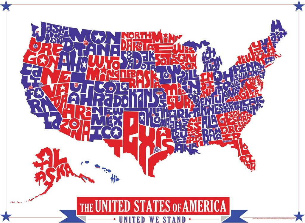 United States Hand Drawn Type Map Hand Drawn Type United States - Red blue maps of the us