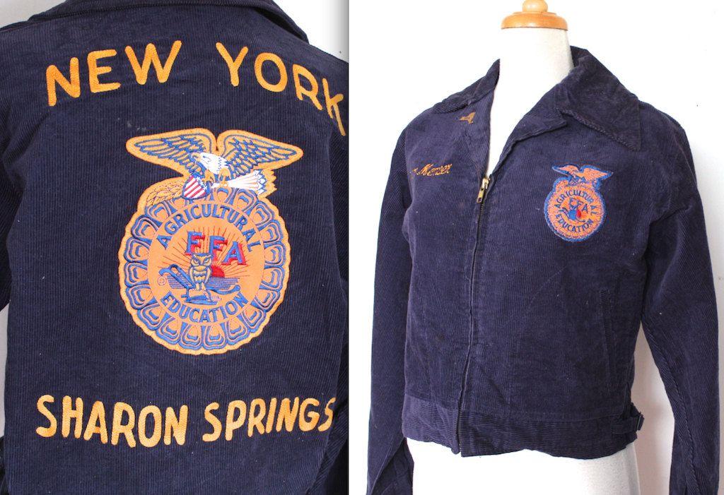 Vintage 1960\u0027s FFA Jacket   60s Royal Blue Corduroy New York Jacket - new farmers of america