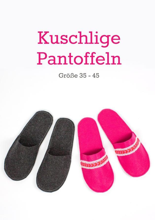 PDF Schnittmuster & Nähanleitung kuschelige Pantoffeln aus ...
