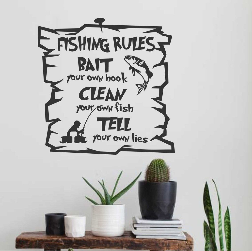 Funny Fishing Rules Sport Decals Vinyl Lettering Wall Quotes - Custom vinyl decals quotes beginning business