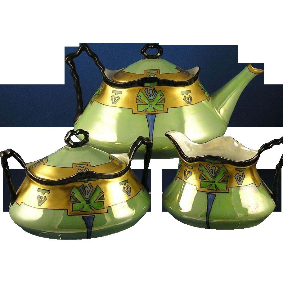 heinrich co h co bavaria art deco lustre tea set. Black Bedroom Furniture Sets. Home Design Ideas