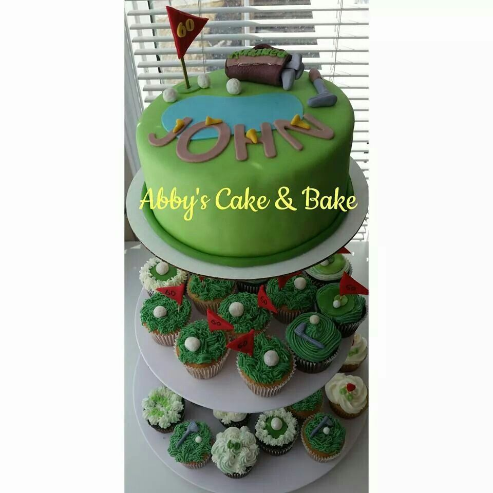 Golfer cake and cupcakes