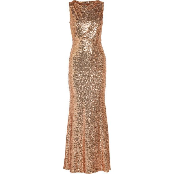Badgley Mischka - Draped Sequined Tulle Gown (€300) ❤ liked on Polyvore  featuring