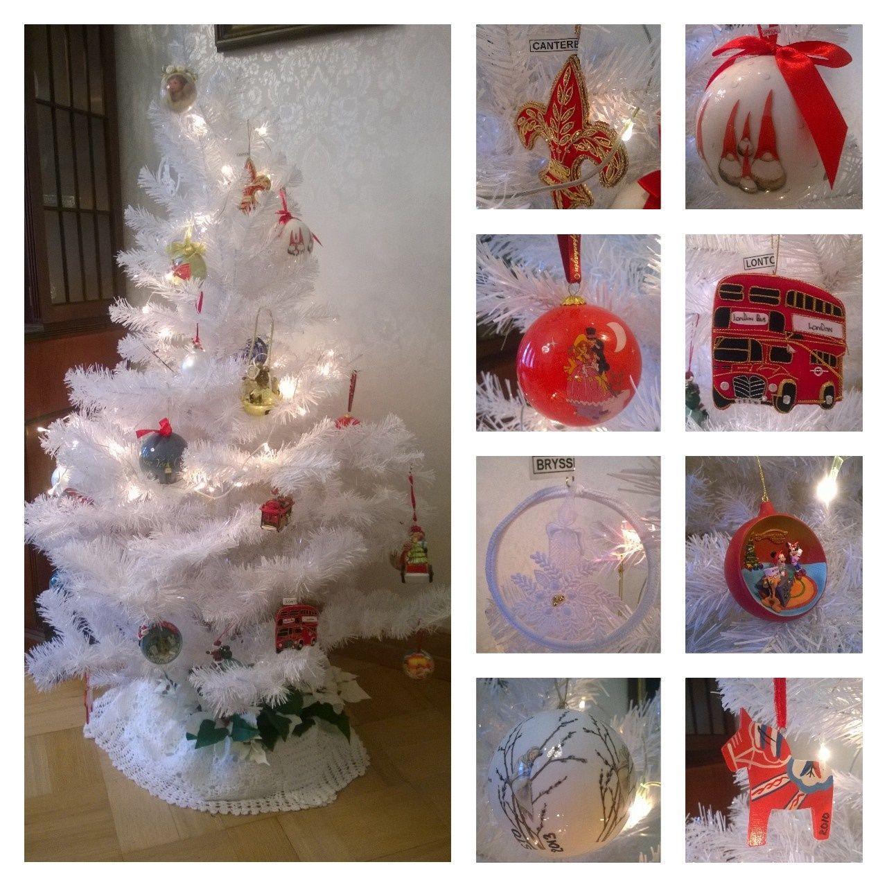 2 / 3 Perheen lomamatkoilta ostetut matkamuistot, joulukuusenkoristeet laitetaan jouluksi ruokasalin valkoiseen muovikuuseen. Tässä kuvat palloista, jotka on ostettu Canterburystä, Upsalasta, Köpenhaminasta, Lontoosta, Brysselistä,  Pariisista ja 2 Tukholmasta.