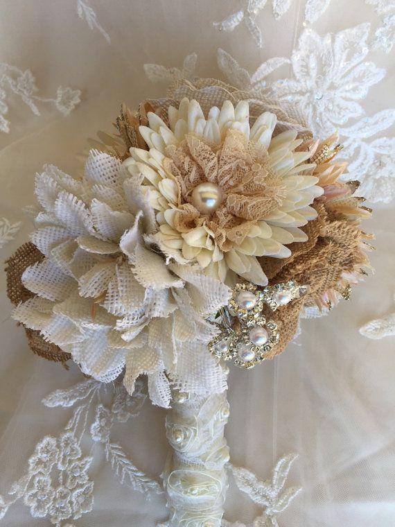 Burlap Bridal Bouquet Rustic Burlap Bouquet by MerryMeBouquets