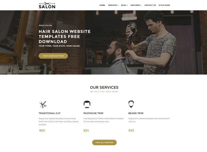 Bootstrap Website Templates Hair Salon Website Templates Free Download  Bootstrap Responsive