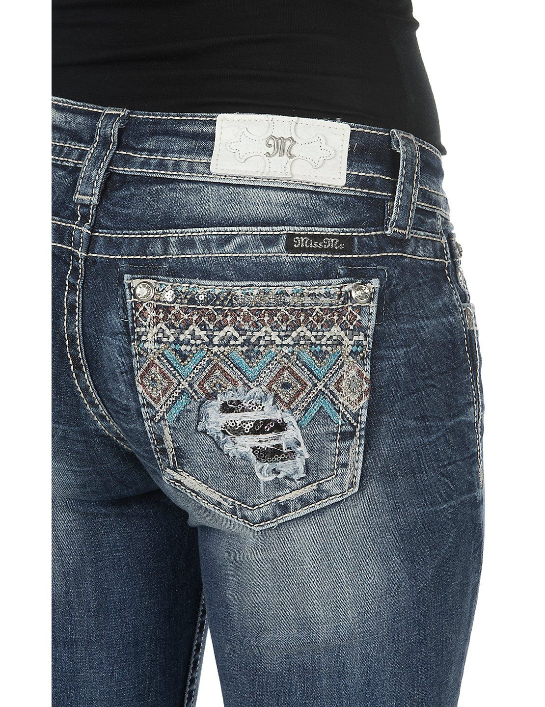 baef8c3cdc1e5 Miss Me Women s Medium Wash with Diamond Pattern Beaded Open Back Pocket  Boot Cut Jeans