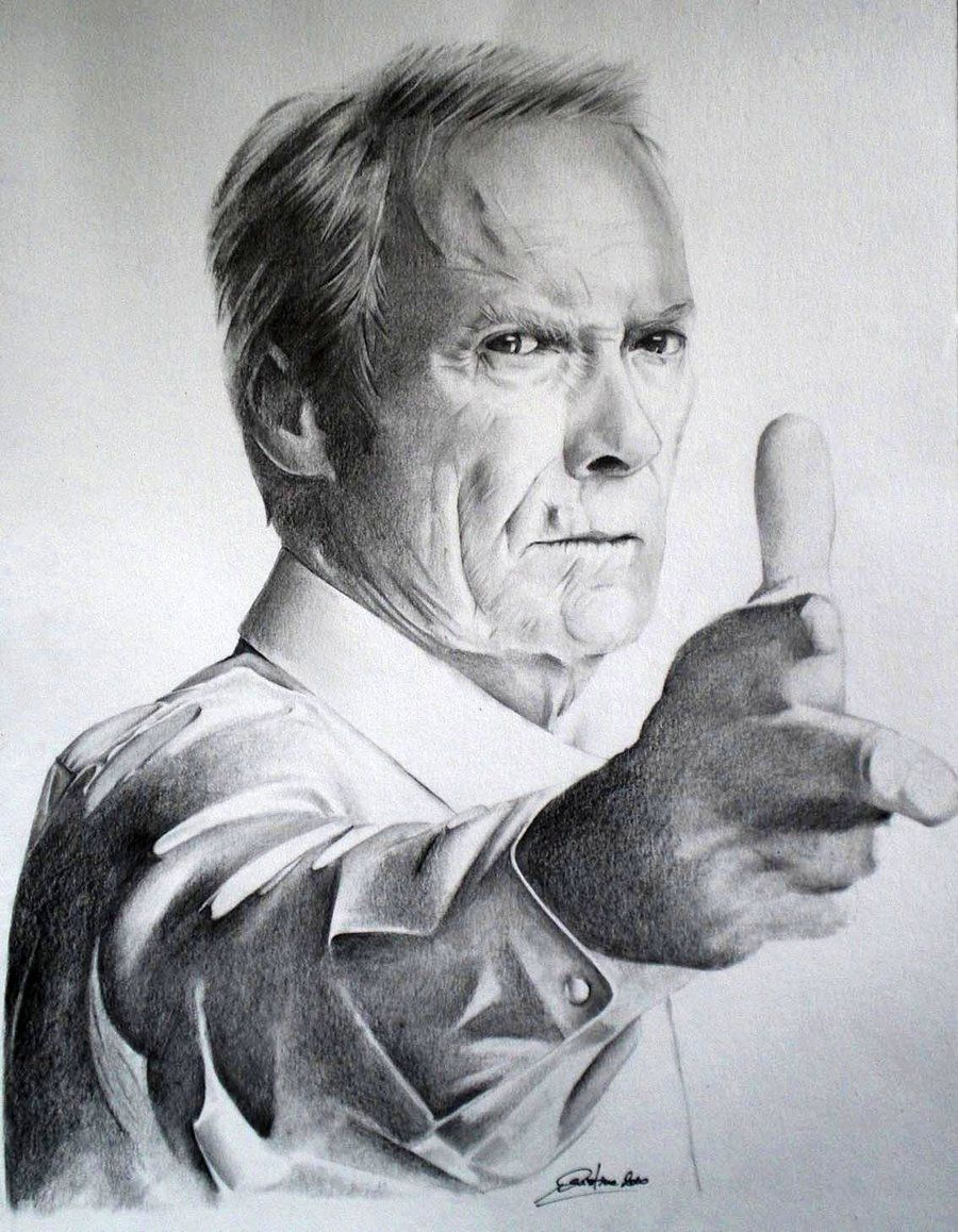 Clint eastwood by cristinac75 deviantart com on deviantart celebrity drawings pencil art
