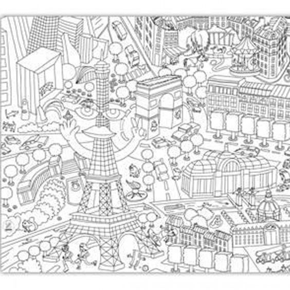 Giant coloring page map of Paris | gaphics | Coloring books, Color ...