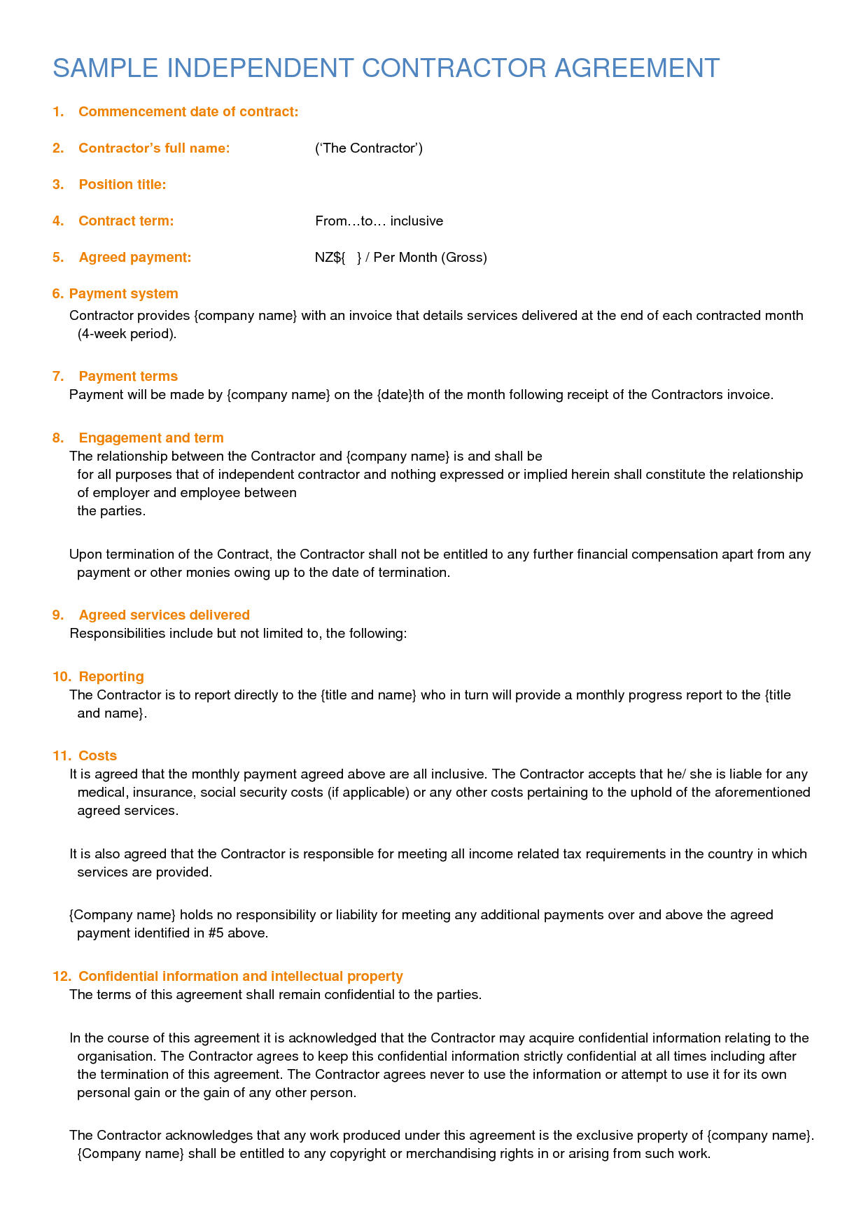 independent contractor agreement sample by sburnet2 ...
