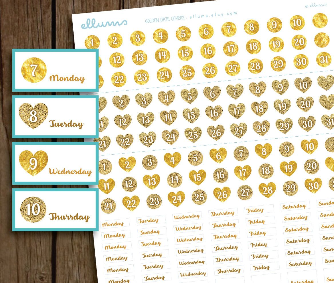 Golden Date Covers PRINTABLE PLANNER STICKERS | Instant Download | Gold Date Coverups | Erin Condren | Glitter Heart Date Covers | Glam Plan by ellums on Etsy