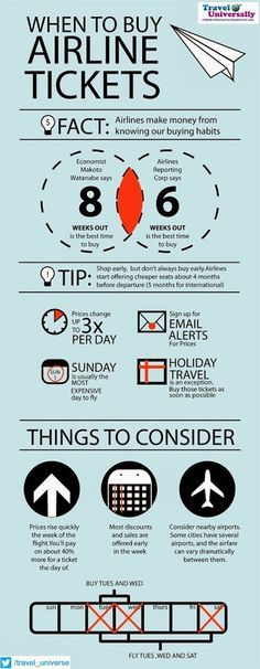 MUST TO READ So What time is best for Buying Airlines Tickets ? 8-) This Post has some useful tips for It. For more travel Updates/Offers and Interesting Stuffs be connected to Travel Universally