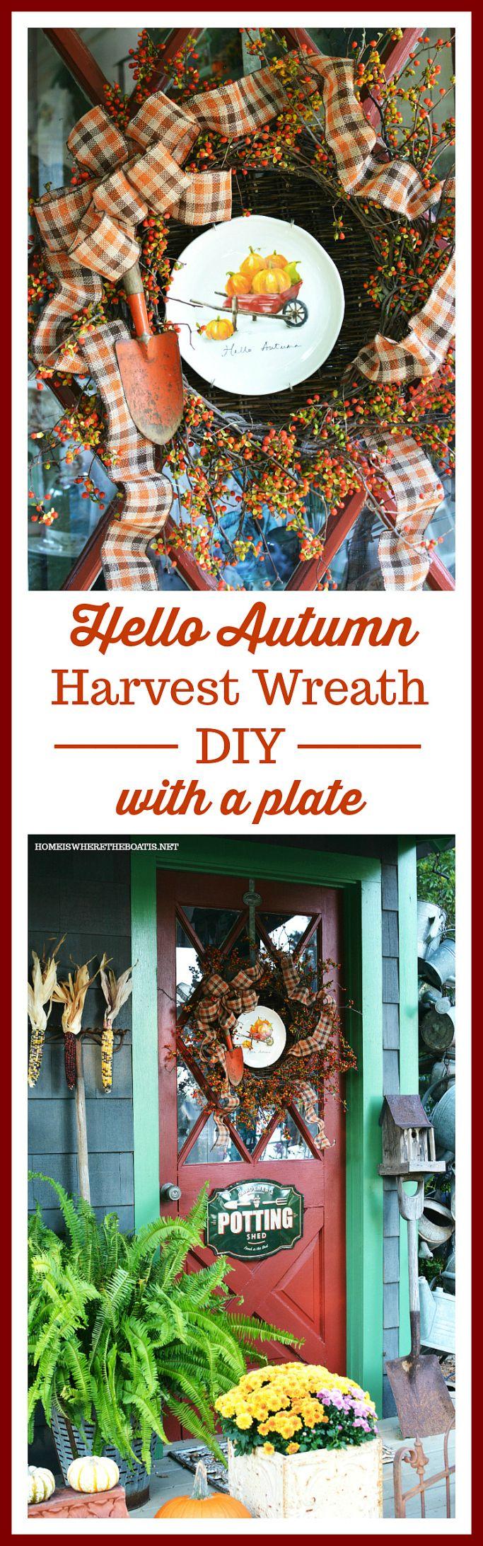 Hello Autumn Wreath and a Wheelbarrow of Pumpkins