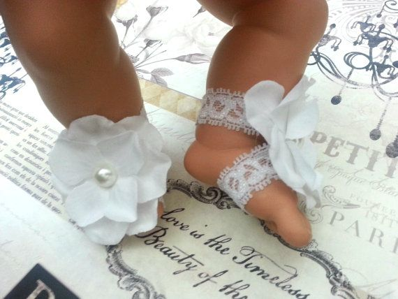 Infant Baby Lace Pure White Barefoot Sandals for Baptism Christening