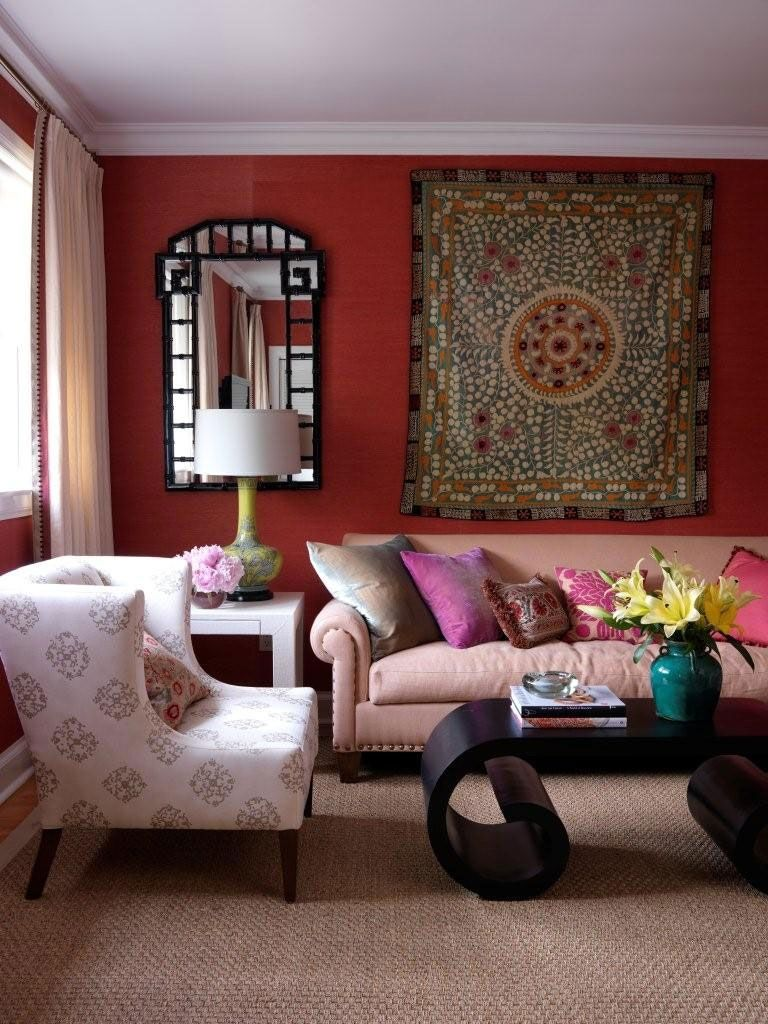 Pink Blue Yellow Brown Living Room - Modern home design ideas