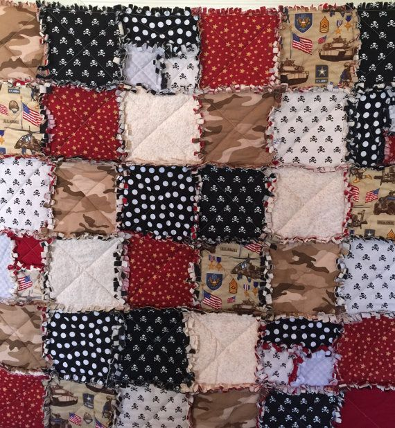 44 x 44 rag quilt. Custom made in an animal free, smoke free home. Some fabric may vary depending on availability. All sales final.