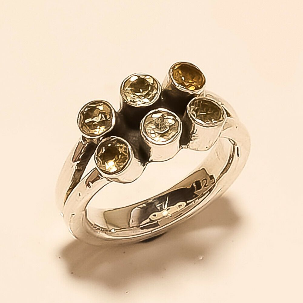 Natural Spanish Citrine Ring 925 Sterling Silver Women New