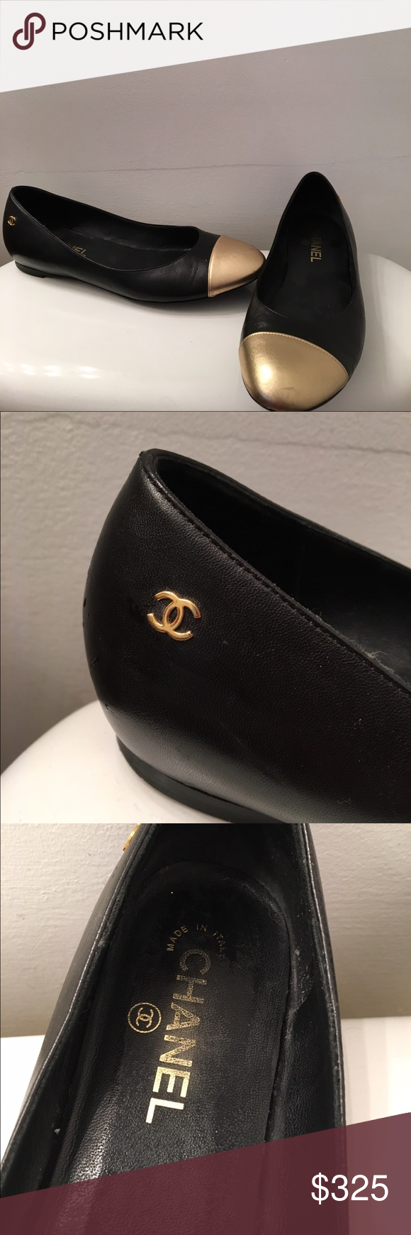 Chanel 39.5 flats Excellent condition size 39.5 (make sure you know your euro shoe size) few small scratches on gold cap on top and black part of shoe as photographed similar shoes sell for $600 on eBay open to reasonable offers! No trades! CHANEL Shoes Flats & Loafers