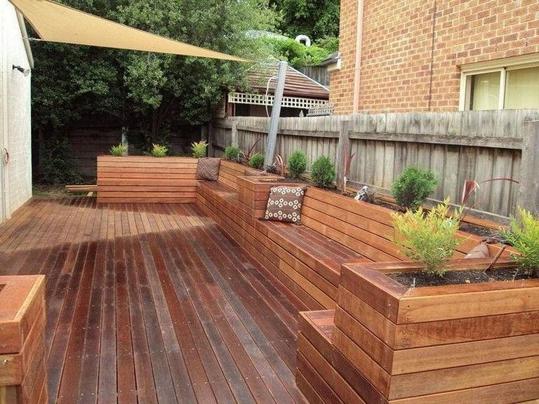 30 Exciting Outdoor Wooden Bench Seat Design Ideas With Planter Box Wooden Bench Outdoor Deck Planters Backyard Seating