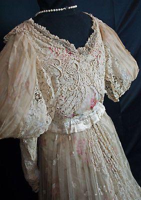 Antique 1890 Paris Ball Gown Honiton Lace Paris Label Mme ...
