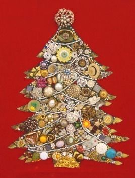Christmas tree made from vintage bobbles and bits