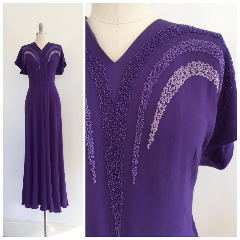 40s Purple Beaded Rayon Crepe Floor Length Dress 1940s Vintage Gown Large Size 14 With Images Floor Length Dresses Dresses 1940s Dresses